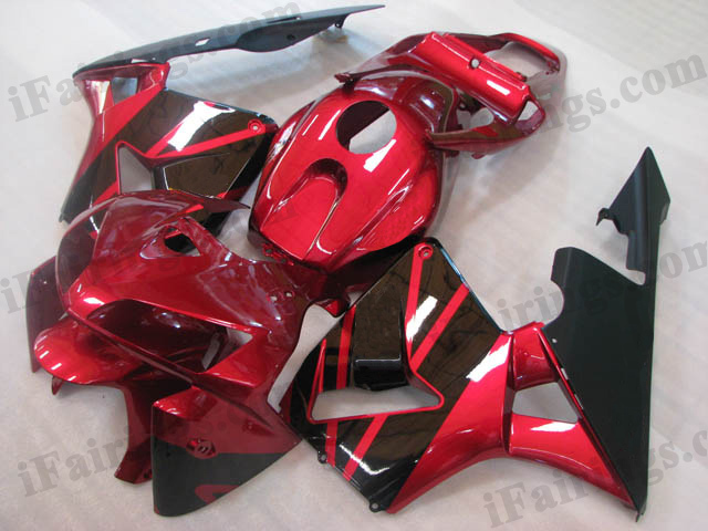 2005 2006 Honda CBR600RR dark red and black fairings
