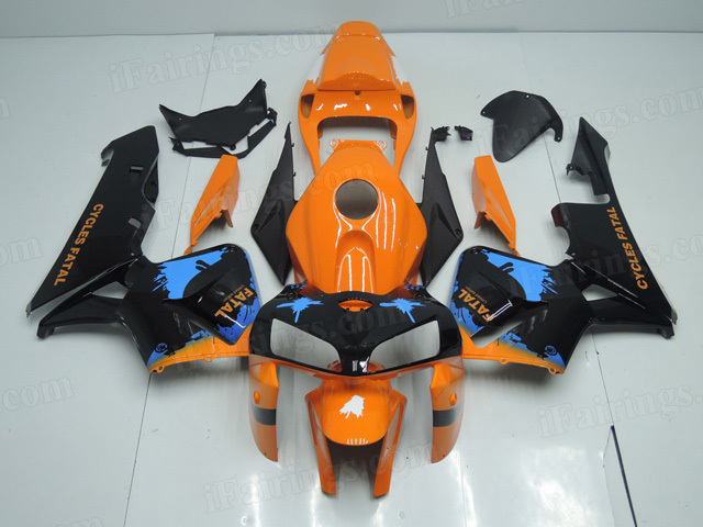 2005 2006 Honda CBR600RR orange and black custom paint fairings.