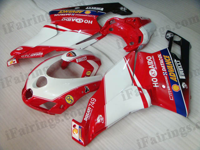 2005 2006 Ducati 749/999 red and white fairing kits.