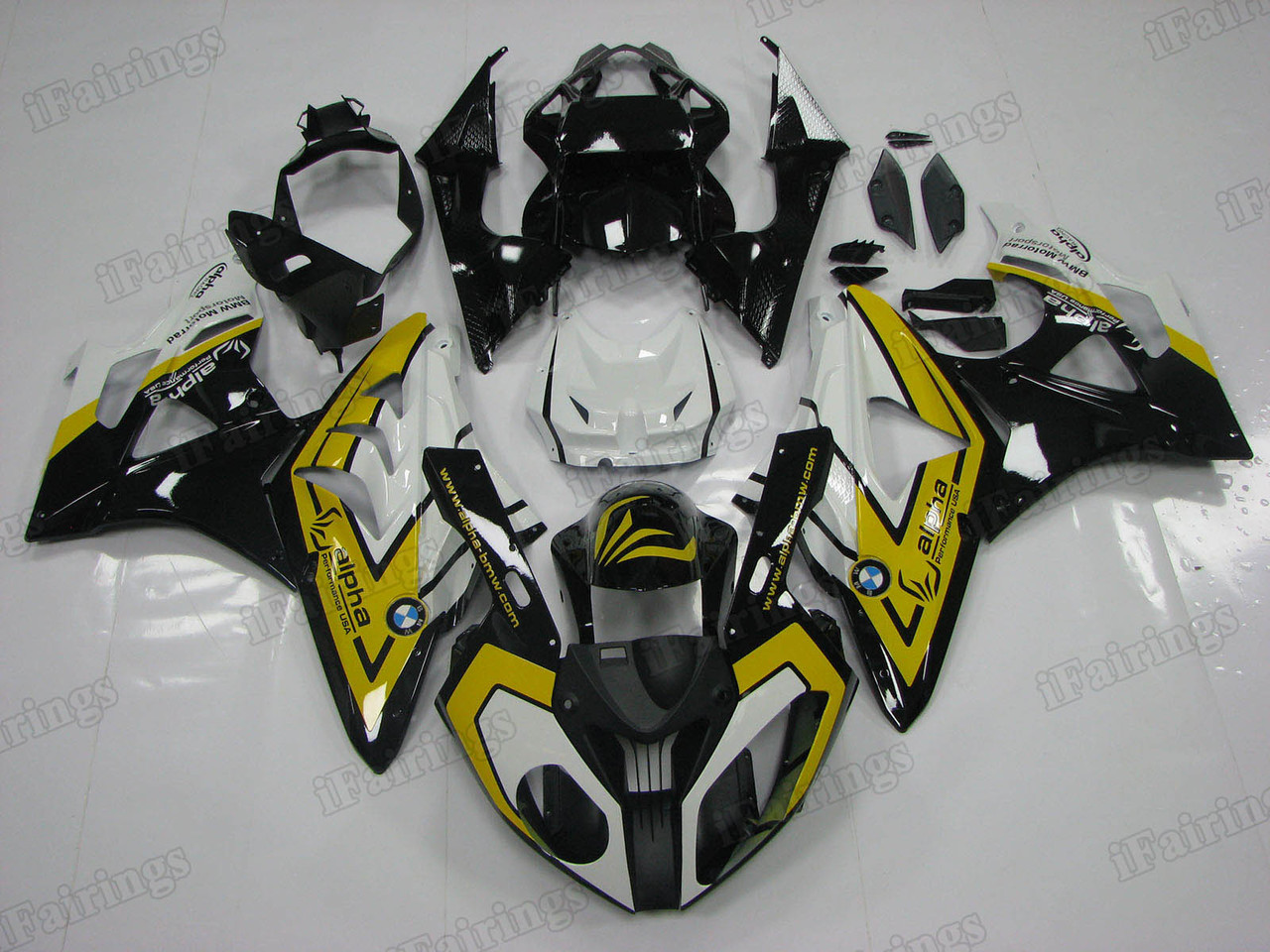 2009 2010 2011 2012 2013 2014 BMW S1000RR black and yellow fairing kit.