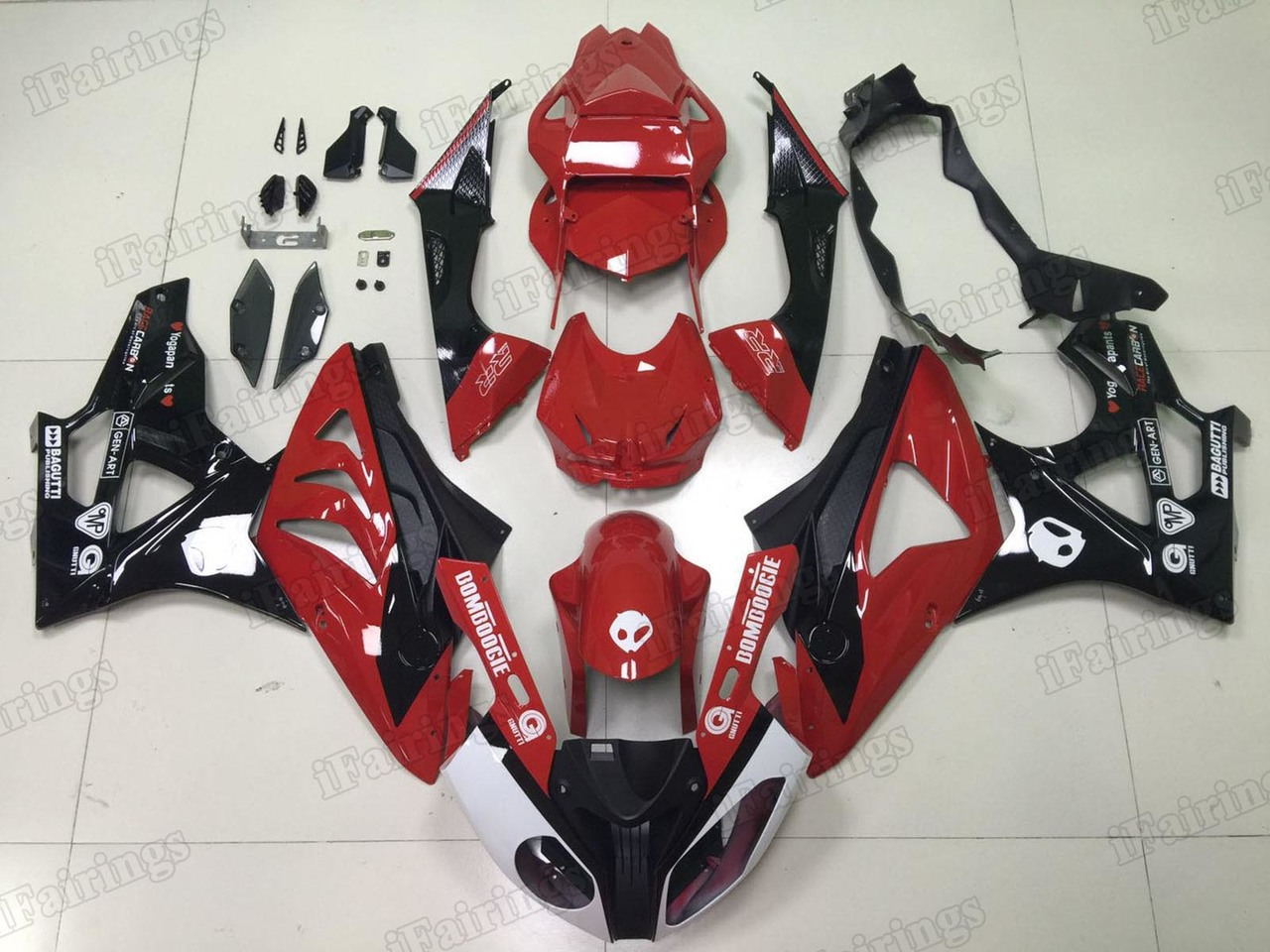 2009 2010 2011 2012 2013 2014 BMW S1000RR red and black fairing kit.