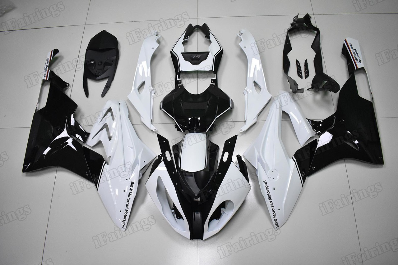 2015 2016 BMW S1000RR white and black fairings.