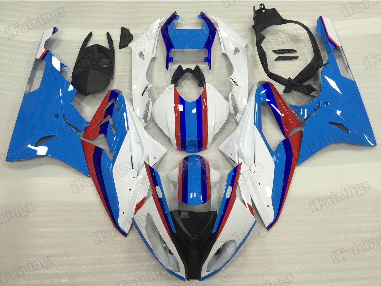 2015 2016 BMW S1000RR white and blue fairings.