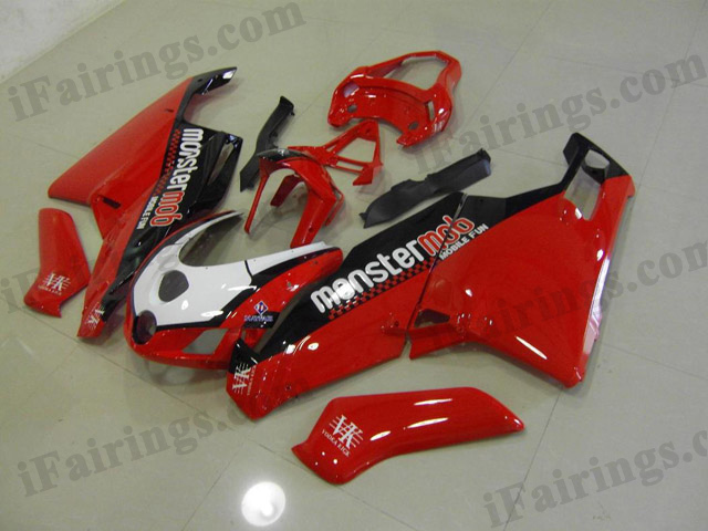 Replacement fairings for 2003 2004 Ducati 749/999 red/black monstermob