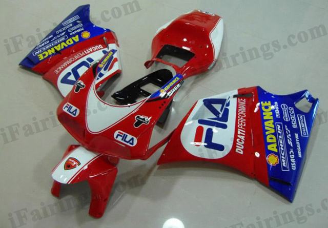 Replacement fairings for Ducati 748/916/996 FILA scheme.