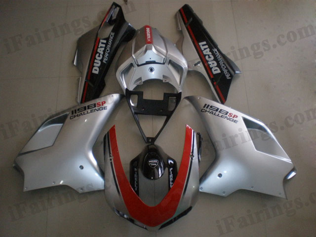 Ducati 848/1098/1198 red, silver and black fairing kits.