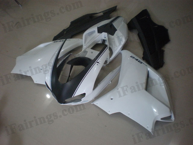 Ducati 848/1098/1198 white and black fairing sets.