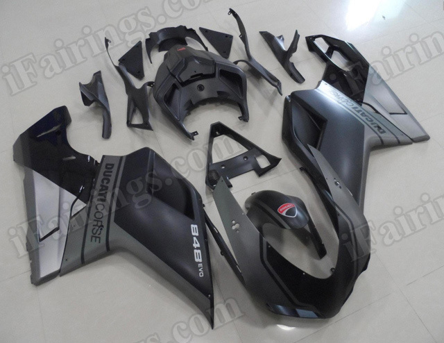 DUCATICORSE fairing sets for Ducati 848 EVO, Ducati 1098, Ducati 1198 black and silver.
