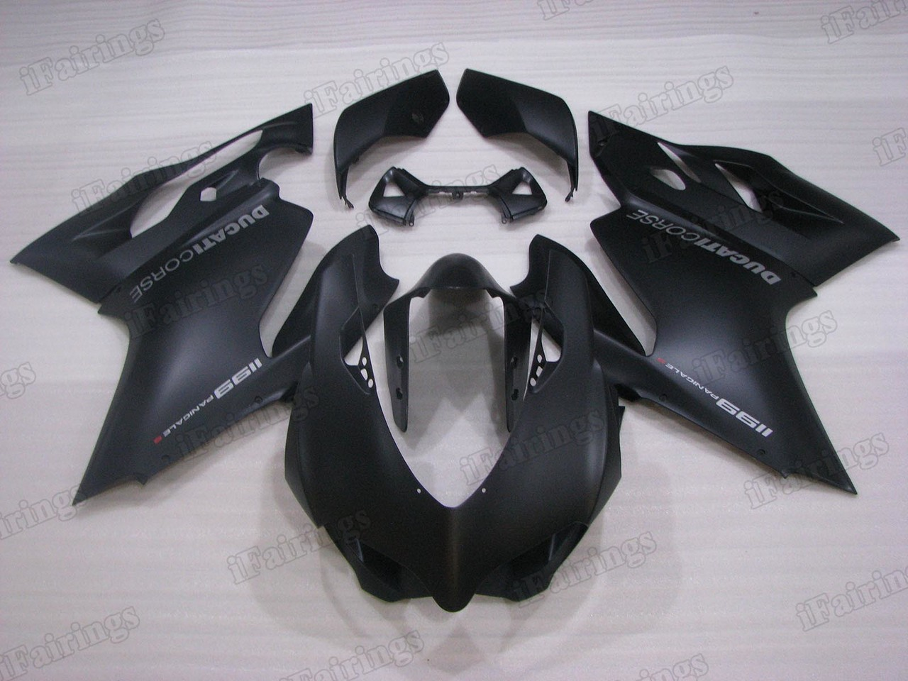 Motorcycle fairings/bodywork for Ducati 899/1199 Panigale matte black color.