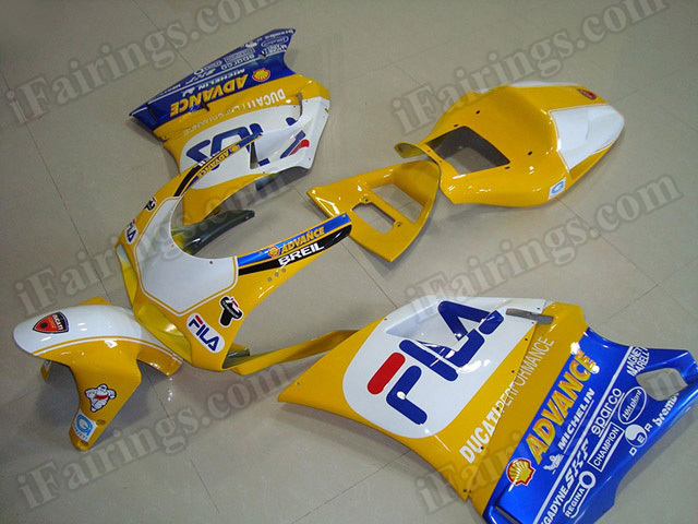 Motorcycle fairings for Ducati 748/996/916 yellow FILA replica.