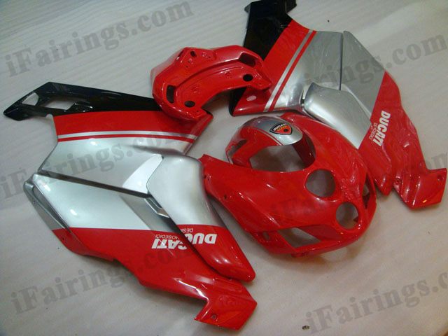 aftermarket fairing kit for Ducati 749/999 2005 2006 red and silver.