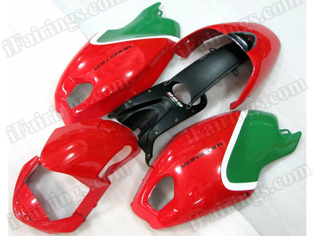 Ducati Monster 696/796/1100 red and green fairings.