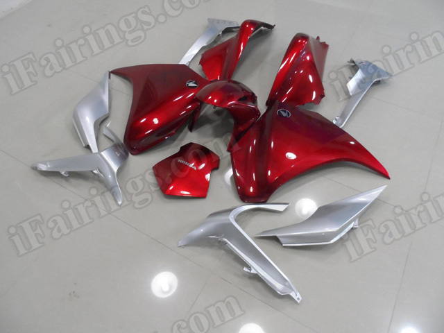 Motorcycle fairings/bodywork for Honda VFR1200F 2010 to 2014 red and silver.