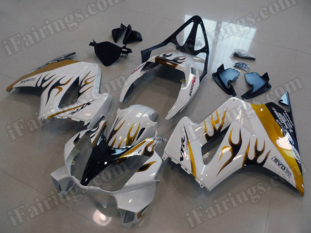 Motorcycle fairings/bodywork for Honda VFR800 2002 to 2012 white with gold flame.