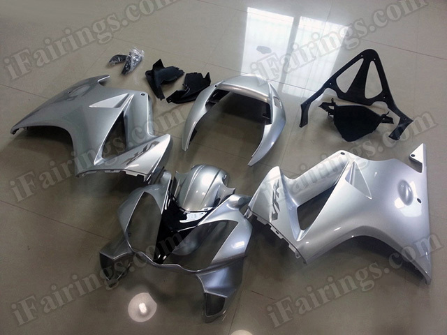 Motorcycle fairings/bodywork for Honda VFR800 2002 to 2012 silver with black.