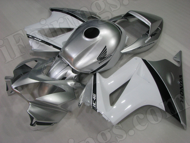 Motorcycle fairings/bodywork for Honda VFR800 2002 to 2012 silver and white.