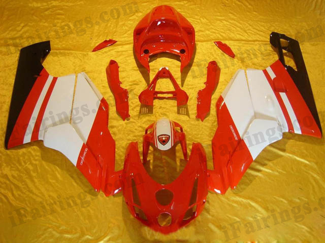 aftermarket fairing kit for Ducati 749/999 2003 2004 red and white.