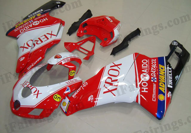 aftermarket fairing kit for Ducati 749/999 2005 2006 white and red xerox.