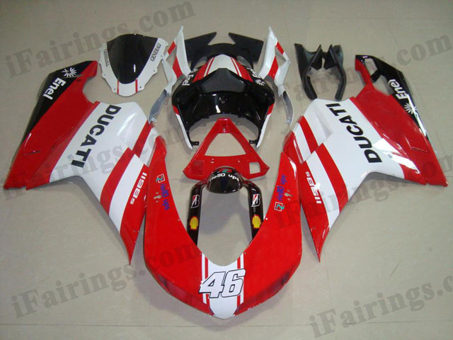 aftermarket fairing kit for Ducati 848/1098/1198 red and white.