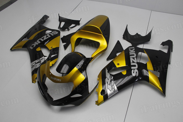 2001 2002 2003 Suzuki GSXR 600, GSXR750 gold and black fairing kits.