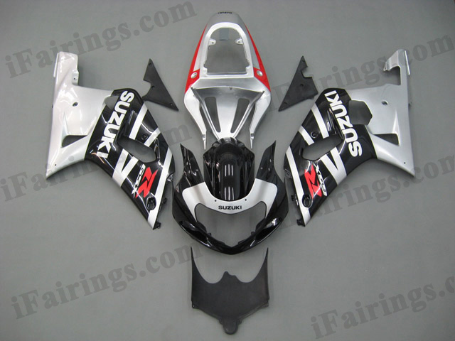 Gixxer fairing for 2001 2002 2003 GSXR600/750 silver and black factory scheme.