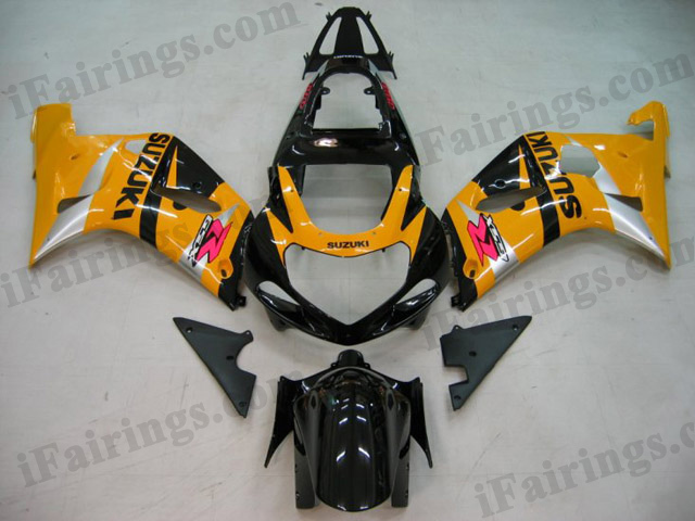2001 2002 2003 GSXR600/750 custom fairing yellow and black scheme