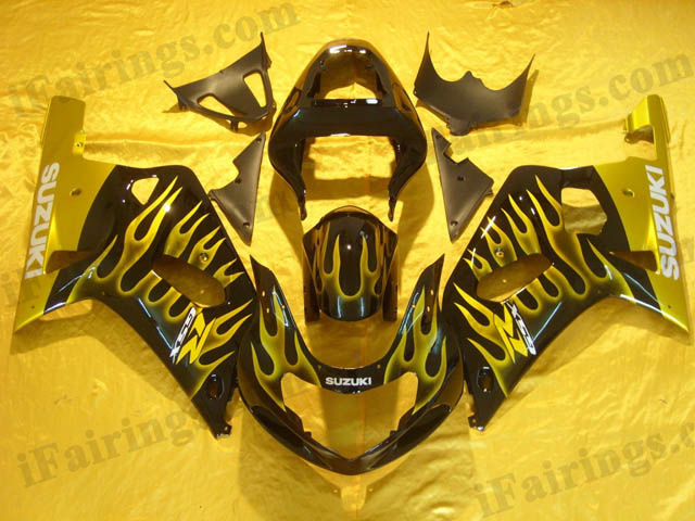 gixxer 2001 2002 2003 GSXR600/750 black and gold flame fairings