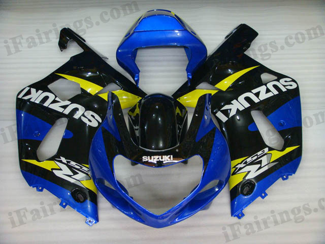 2001 2002 2003 GSXR600/750 custom fairing blue and black scheme.