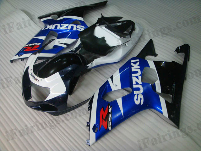 2001 2002 2003 GSXR600/750 custom fairings blue/ black scheme.