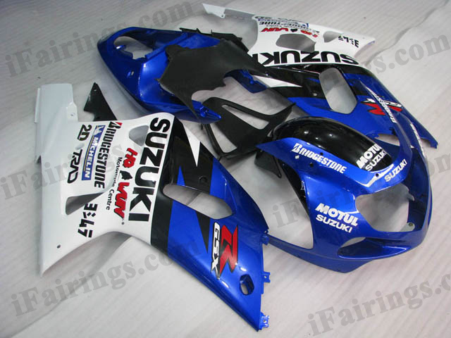 GSXR600/750 2001 2002 2003 blue and white fairings, GSXR600/750 replacement bodywork