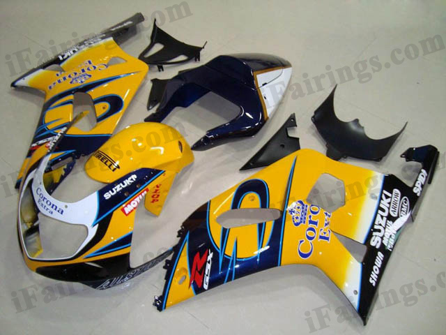 aftermarket fairings for 2001 2002 2003 GSXR600/750 yellow Corona graphic.