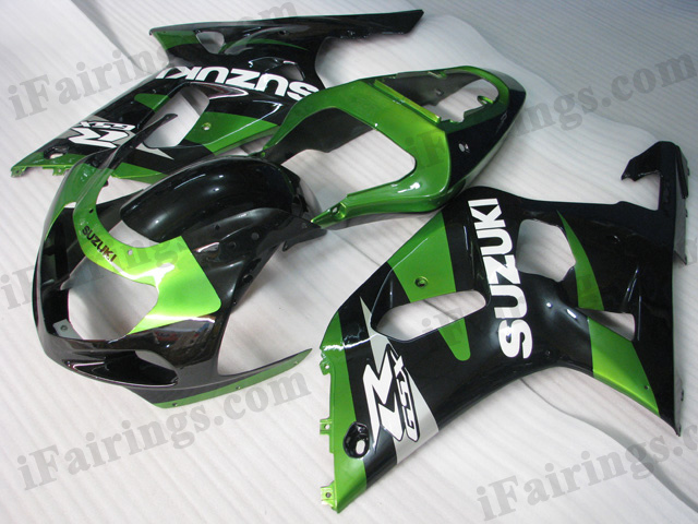 2001 2002 2003 Suzuki GSXR600/750 green and black fairing kits.