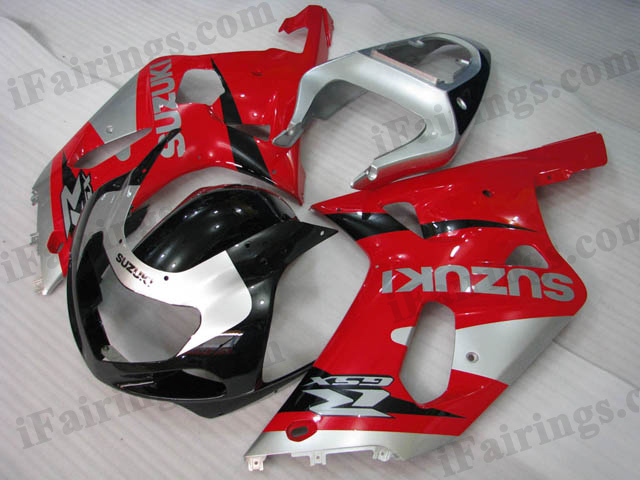GSXR600/750 2001 2002 2003 red,silver and black fairings
