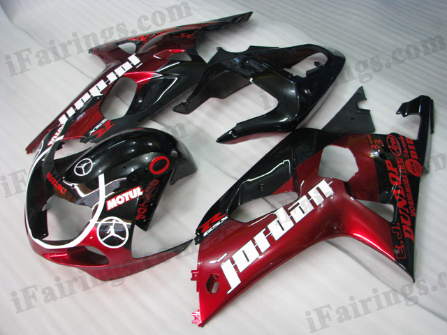 GSXR600/750 2001 2002 2003 Jordan red/white fairings, GSXR600/750 replacement bodywork