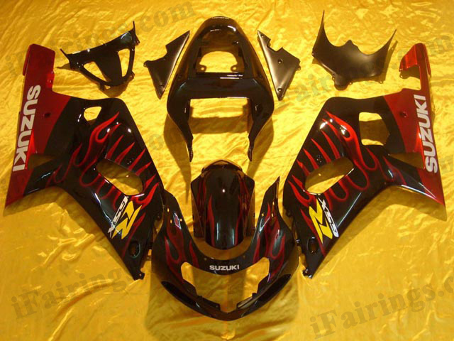 GSXR600/750 2001 2002 2003 red flame fairings, GSXR600/750 replacement bodywork.