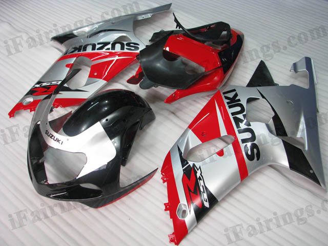 GSXR600/750 2001 2002 2003 red,silver and black fairings, GSXR600/750 replacement bodywork
