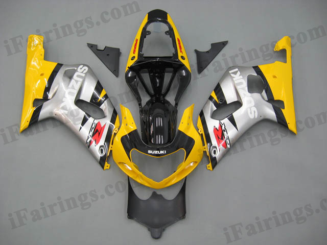 2001 2002 2003 GSXR600/750 yellow/silver custom fairing kits.