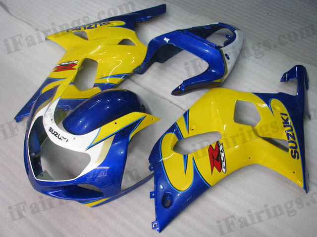 Replacement fairings for 2001 2002 2003 GSXR600/750 yellow/blue scheme.
