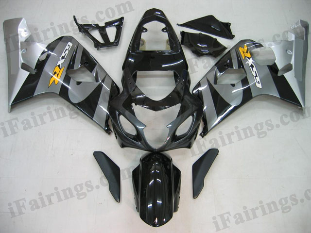 GSXR600/750 2004 2005 silver and black fairings, 2004 2005 GSXR 600/750 replacement bodywork.