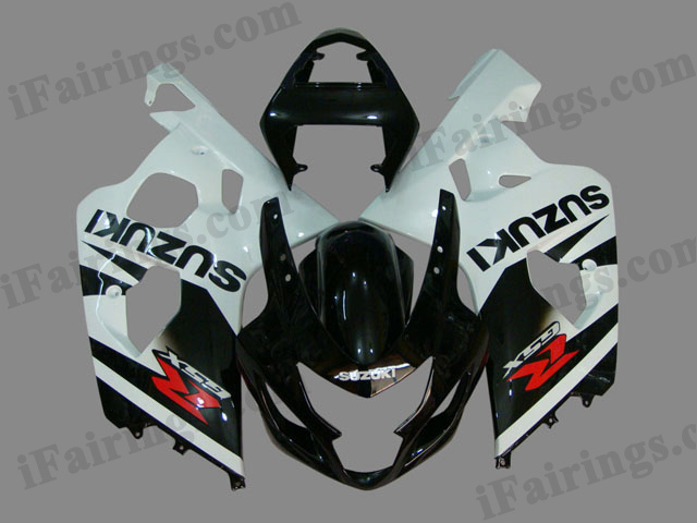 GSXR600/750 2004 2005 black and white fairings, 2004 2005 GSXR 600/750 replacement bodywork.