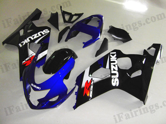 GSXR600/750 2004 2005 blue and black fairings, 2004 2005 GSXR 600/750 replacement bodywork.