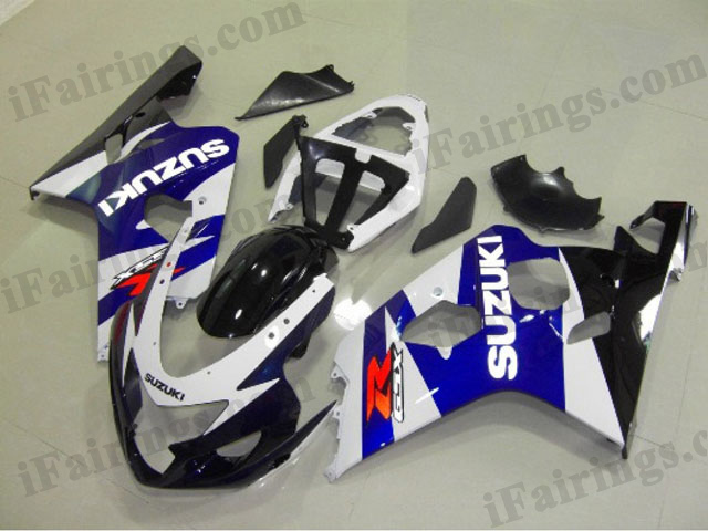 GSXR600/750 2004 2005 blue and white fairings, 2004 2005 GSXR 600/750 replacement body kits.