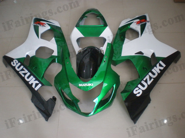 2004 2005 Suzuki GSXR600/750 green, white and black fairing kits.