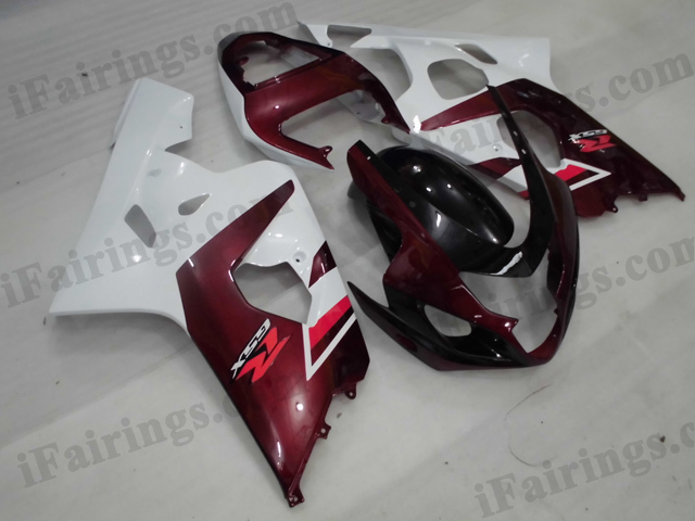 2004 2005 Suzuki GSXR600/750 dark red and white fairing kits.