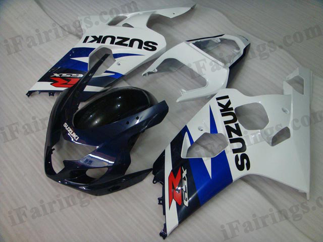 GSXR600/750 2004 2005 blue and white fairings, 2004 2005 GSXR 600/750 replacement plastic.