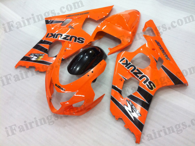 2004 2005 Suzuki GSXR600/750 orange and black strips fairing kits.