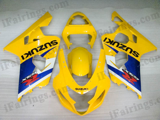 GSXR600/750 2004 2005 yellow and blue fairings, 2004 2005 GSXR 600/750 replacement bodywork.
