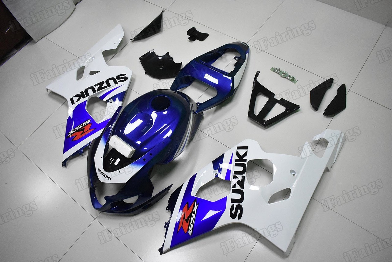 2004 2005 GSXR600/750 blue and white fairings, GSXR600/750 replacement bodywork.