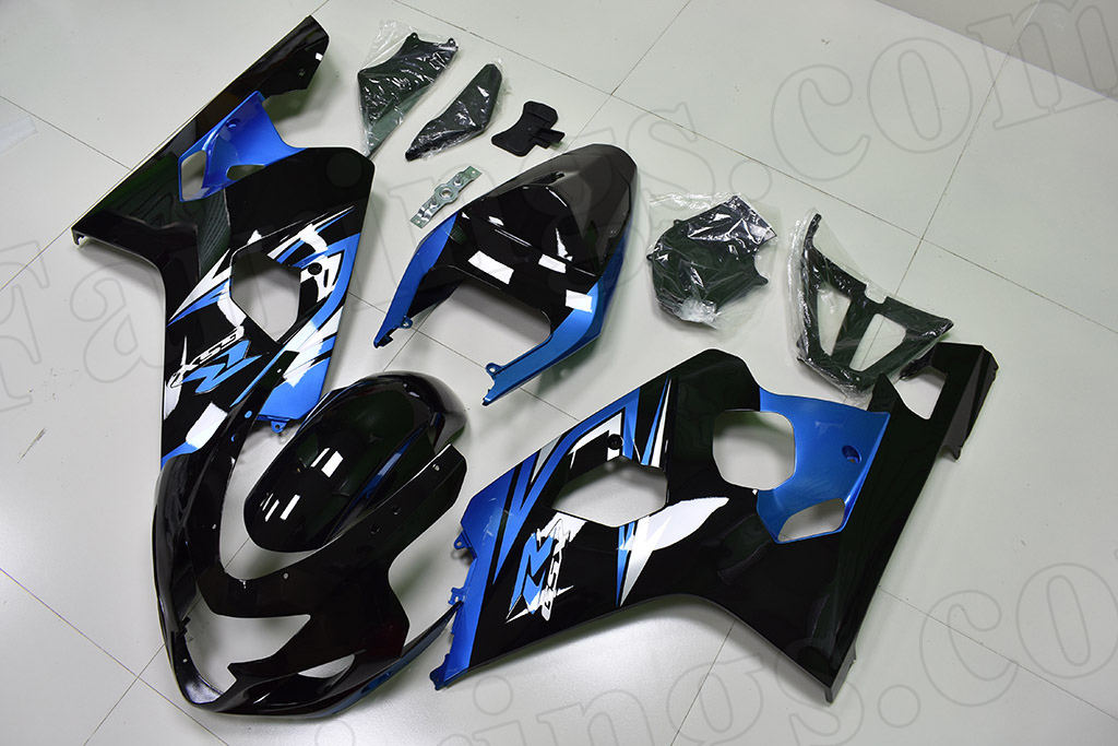 2004 2005 Suzuki GSX-R600, GSX-R750 black and blue fairings.
