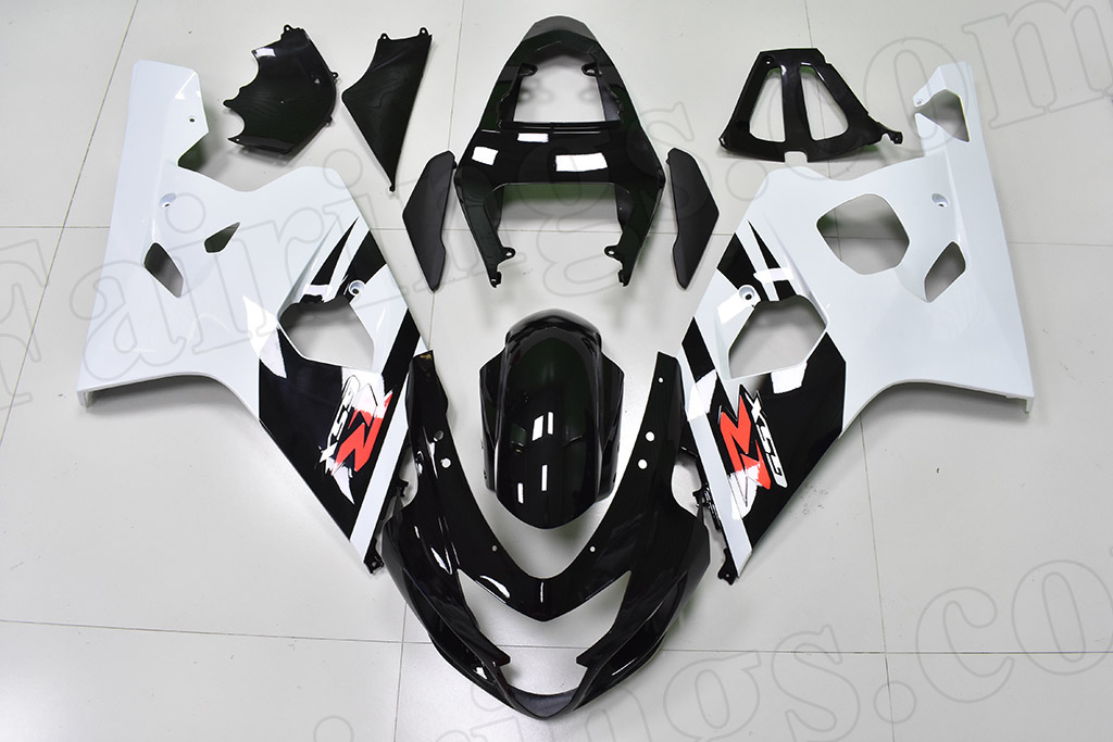 2004 2005 Suzuki GSX-R600, GSX-R750 black and white fairings.